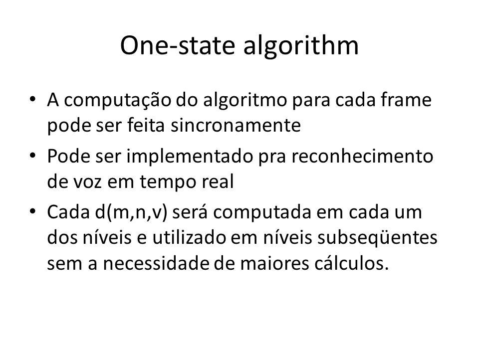 One-state algorithm A computação do algoritmo para cada frame pode ser feita sincronamente.