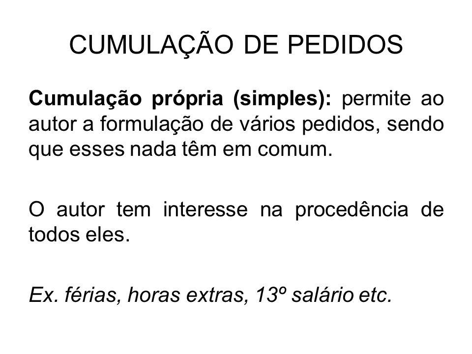 CUMULAÇÃO DE PEDIDOS Cumulação própria (simples): permite ao autor a formulação de vários pedidos, sendo que esses nada têm em comum.