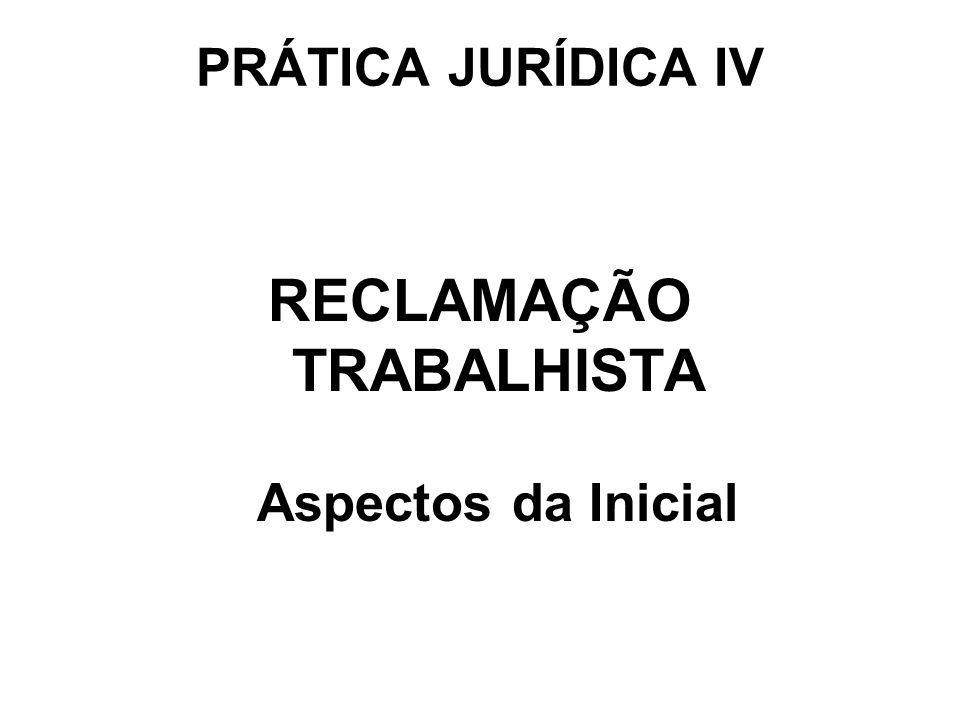 RECLAMAÇÃO TRABALHISTA Aspectos da Inicial