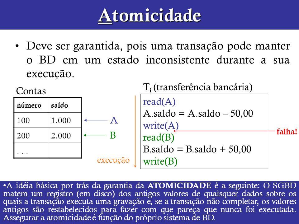 AtomicidadeDeve ser garantida, pois uma transação pode manter o BD em um estado inconsistente durante a sua execução.
