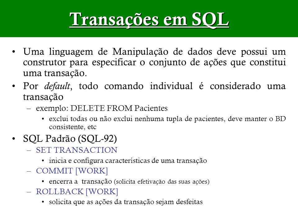 Transações em SQLUma linguagem de Manipulação de dados deve possui um construtor para especificar o conjunto de ações que constitui uma transação.