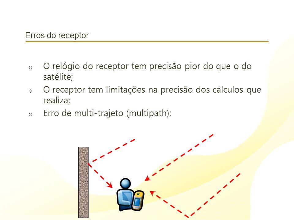O relógio do receptor tem precisão pior do que o do satélite;