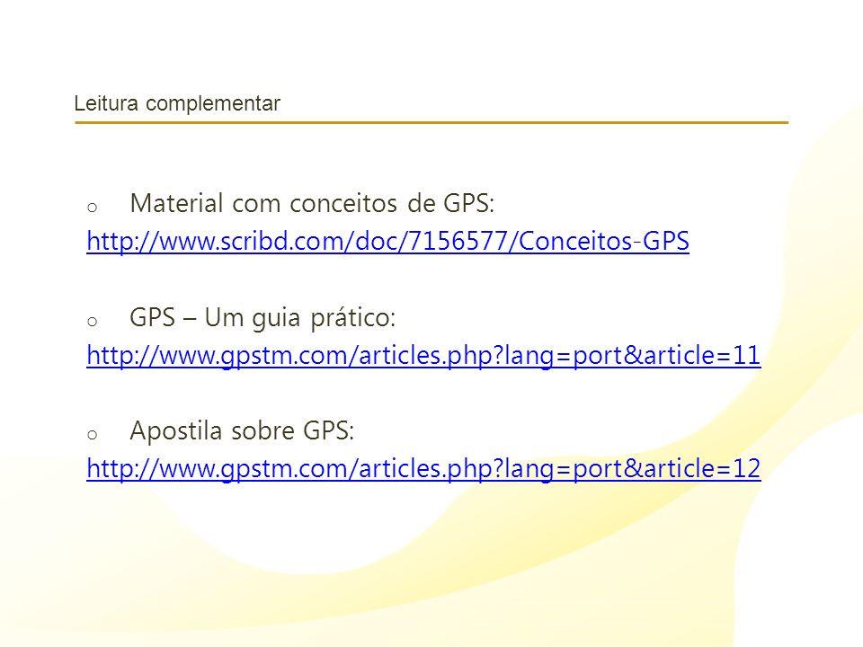 Material com conceitos de GPS: