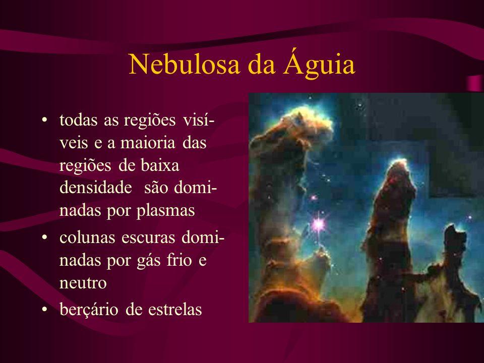 Nebulosa da Águia todas as regiões visí-veis e a maioria das regiões de baixa densidade são domi-nadas por plasmas.