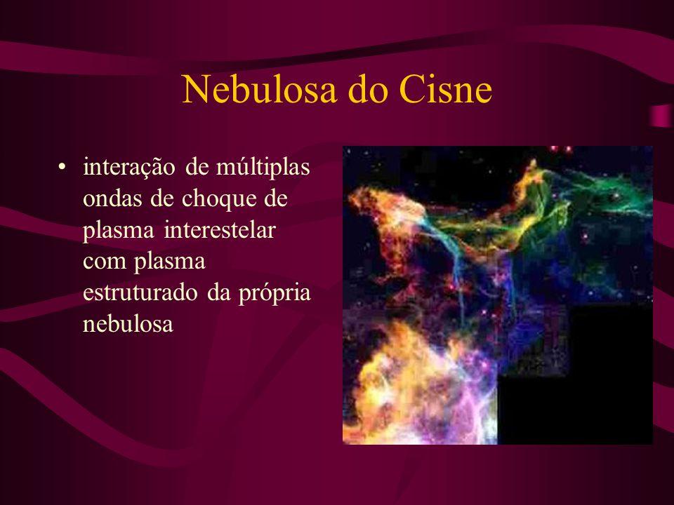 Nebulosa do Cisne interação de múltiplas ondas de choque de plasma interestelar com plasma estruturado da própria nebulosa.