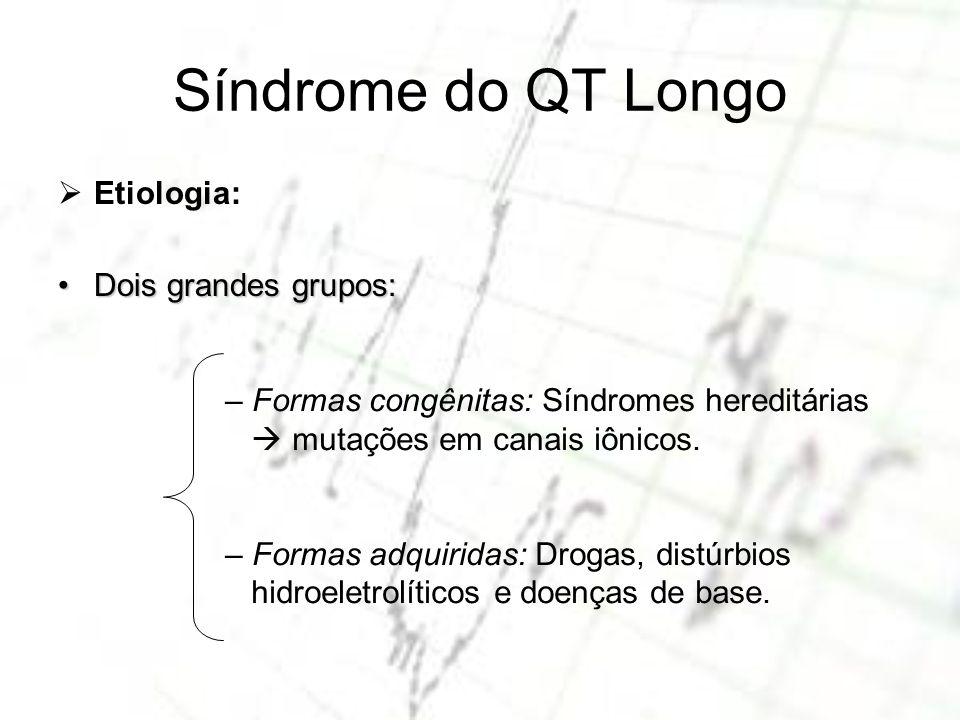 Síndrome do QT Longo Etiologia: Dois grandes grupos: