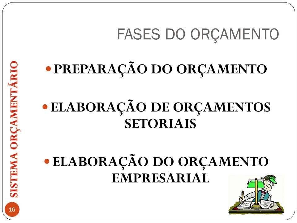FASES DO ORÇAMENTO PREPARAÇÃO DO ORÇAMENTO