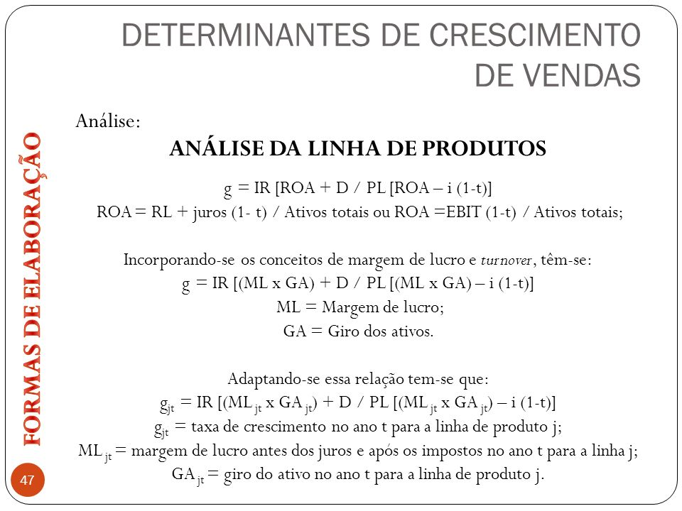 DETERMINANTES DE CRESCIMENTO DE VENDAS