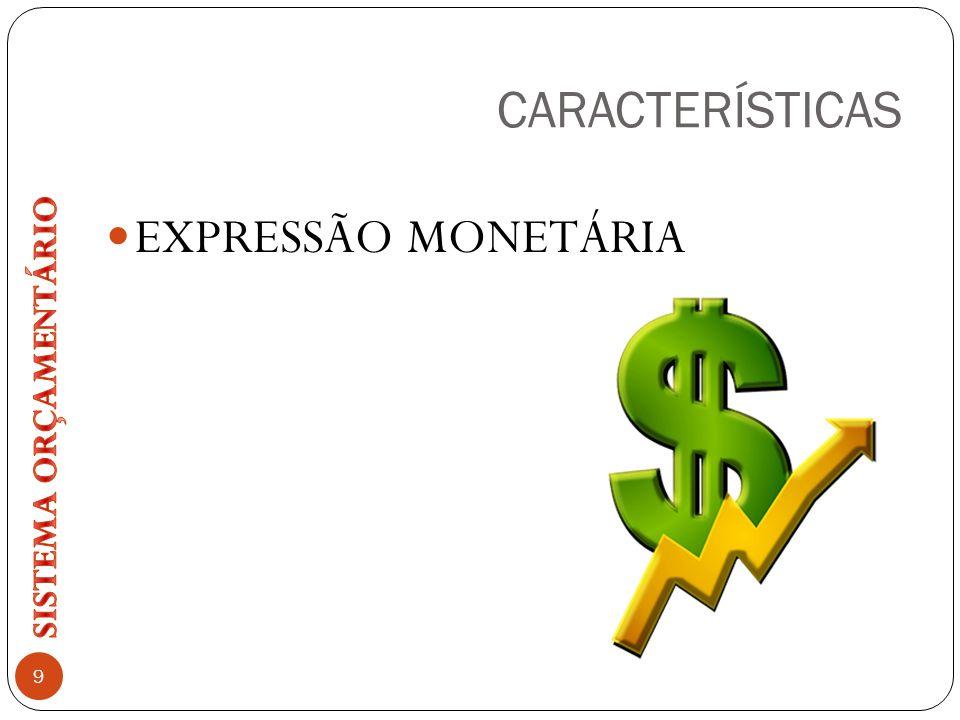 CARACTERÍSTICAS EXPRESSÃO MONETÁRIA SISTEMA ORÇAMENTÁRIO