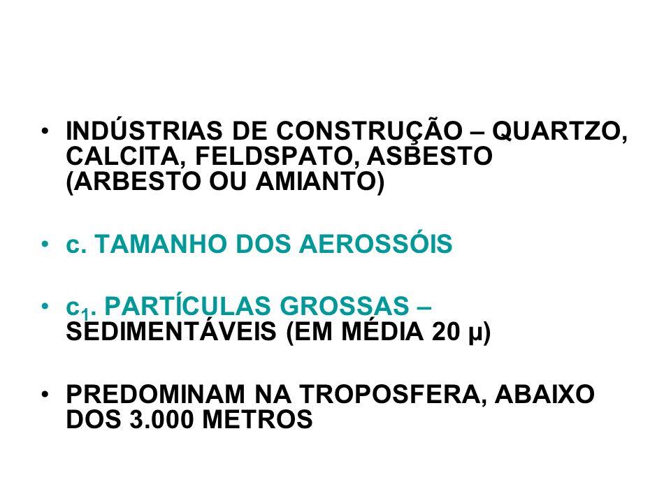 INDÚSTRIAS DE CONSTRUÇÃO – QUARTZO, CALCITA, FELDSPATO, ASBESTO (ARBESTO OU AMIANTO)