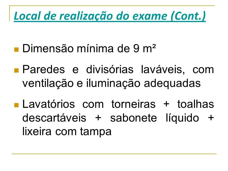 Local de realização do exame (Cont.)