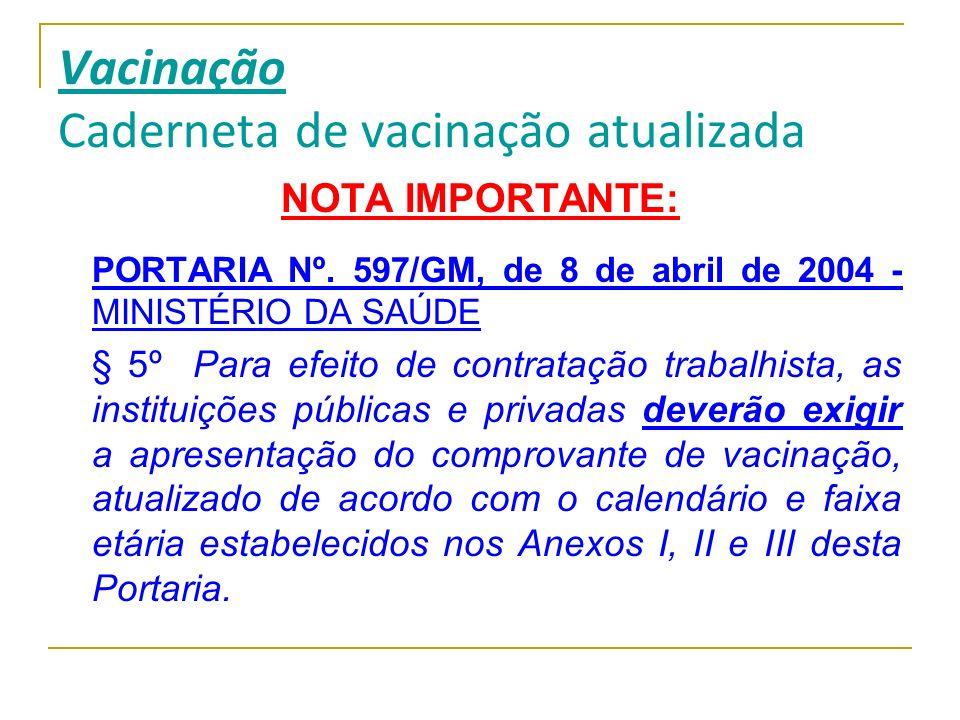 Vacinação Caderneta de vacinação atualizada