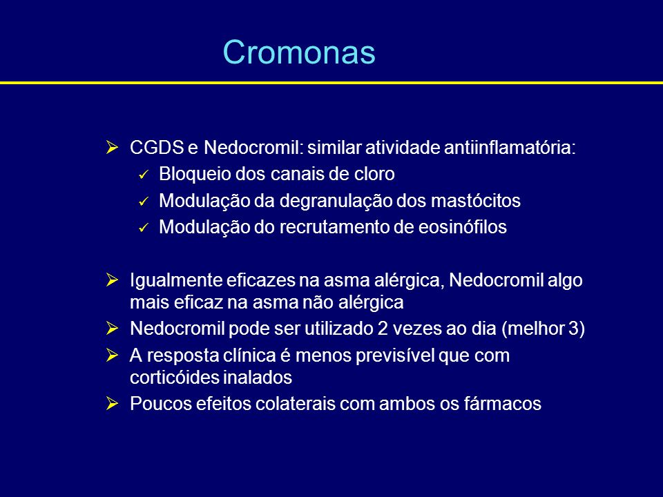 Cromonas CGDS e Nedocromil: similar atividade antiinflamatória: