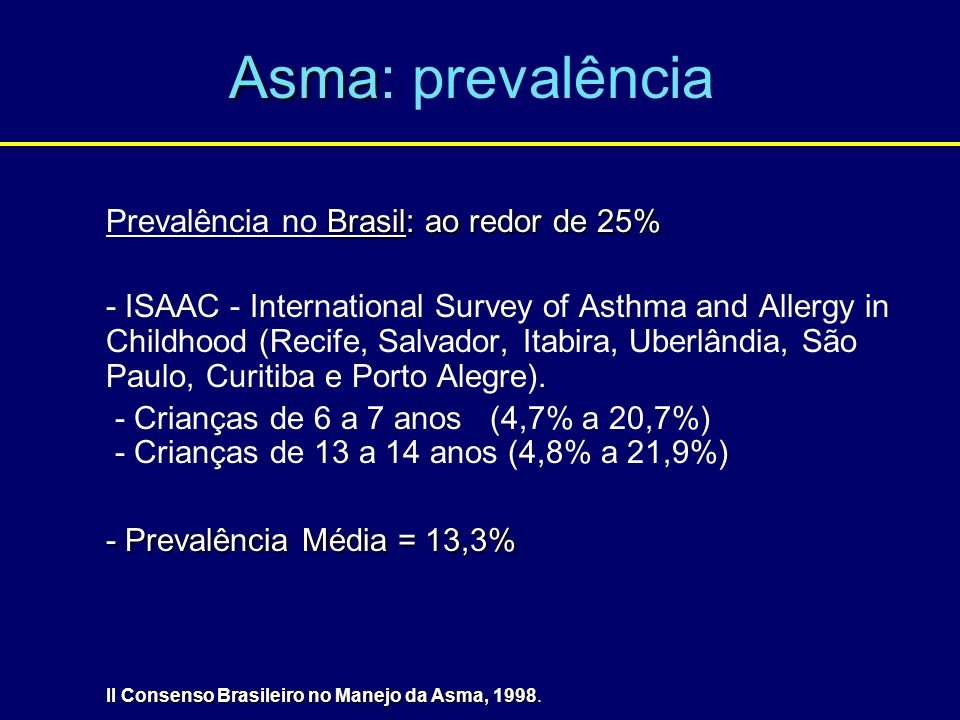 Asma: prevalência Prevalência no Brasil: ao redor de 25%