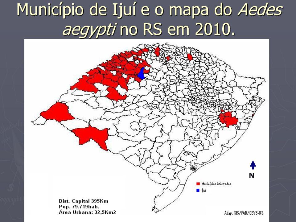 Município de Ijuí e o mapa do Aedes aegypti no RS em 2010.