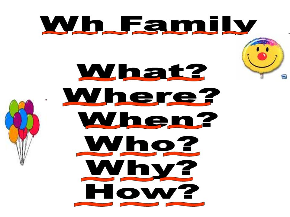 Wh Family What Where When Who Why How ~~~~~~~ ~~~ ~~~ ~~~ ~~~