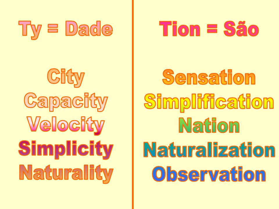 Ty = Dade City. Capacity. Velocity. Simplicity. Naturality. Tion = São. Sensation. Simplification.