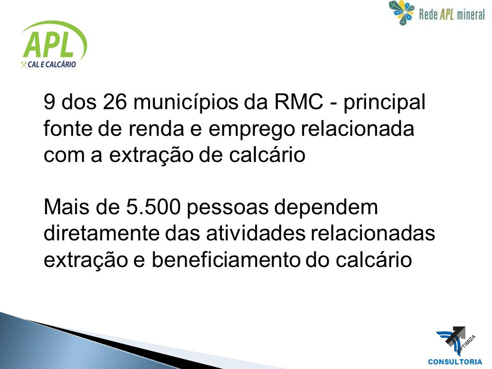 9 dos 26 municípios da RMC - principal fonte de renda e emprego relacionada com a extração de calcário