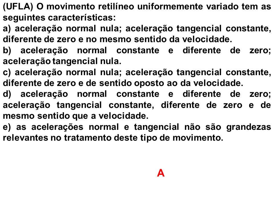 (UFLA) O movimento retilíneo uniformemente variado tem as seguintes características: