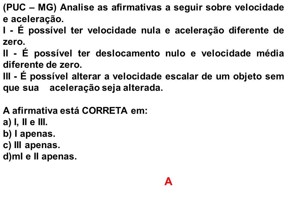 (PUC – MG) Analise as afirmativas a seguir sobre velocidade e aceleração.