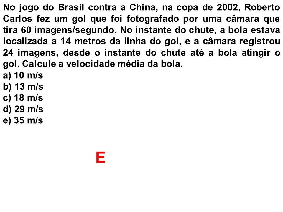 No jogo do Brasil contra a China, na copa de 2002, Roberto Carlos fez um gol que foi fotografado por uma câmara que tira 60 imagens/segundo. No instante do chute, a bola estava localizada a 14 metros da linha do gol, e a câmara registrou 24 imagens, desde o instante do chute até a bola atingir o gol. Calcule a velocidade média da bola.