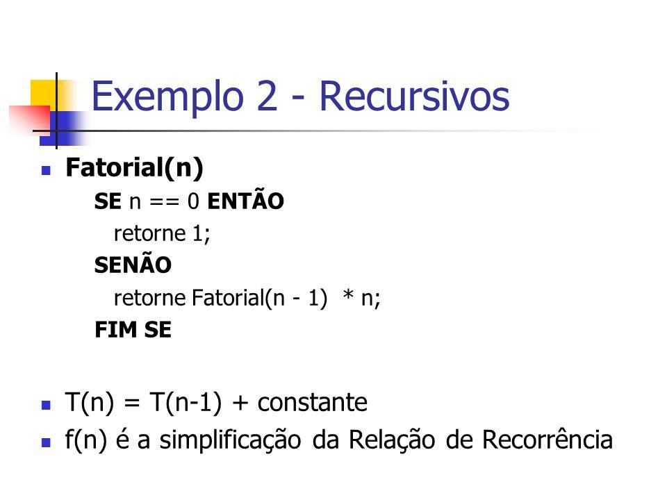 Exemplo 2 - Recursivos Fatorial(n) T(n) = T(n-1) + constante