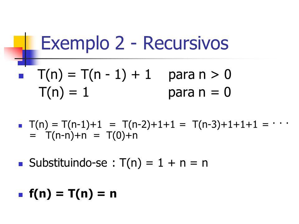 Exemplo 2 - Recursivos T(n) = T(n - 1) + 1 para n > 0
