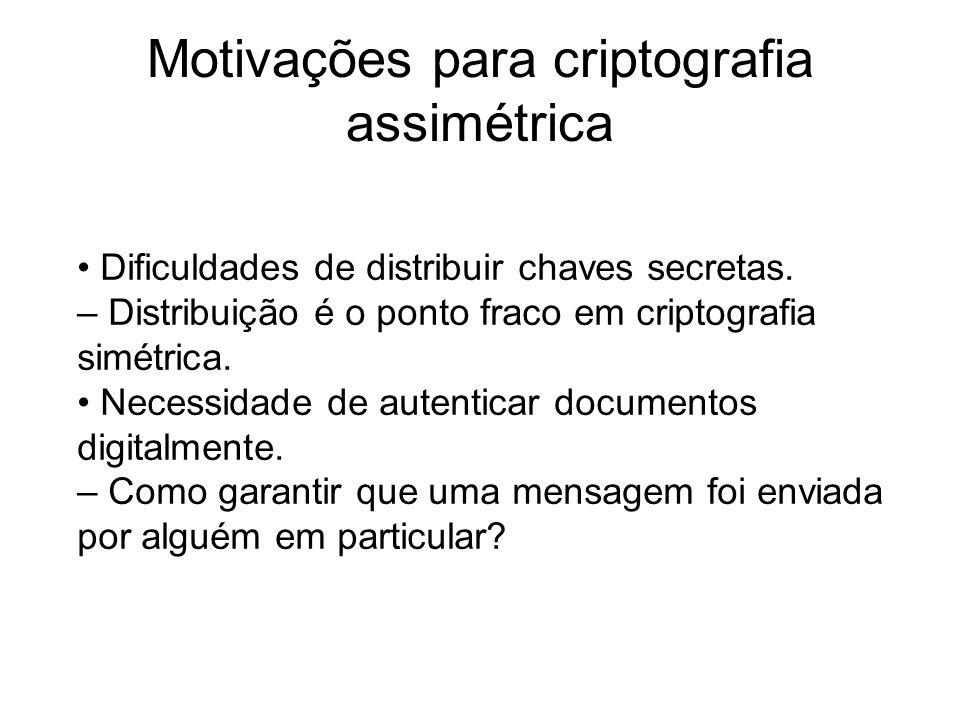 Motivações para criptografia assimétrica