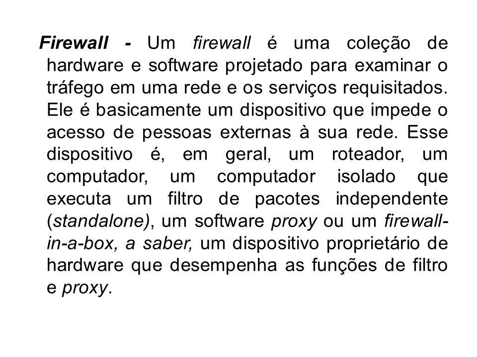 Firewall - Um firewall é uma coleção de hardware e software projetado para examinar o tráfego em uma rede e os serviços requisitados.