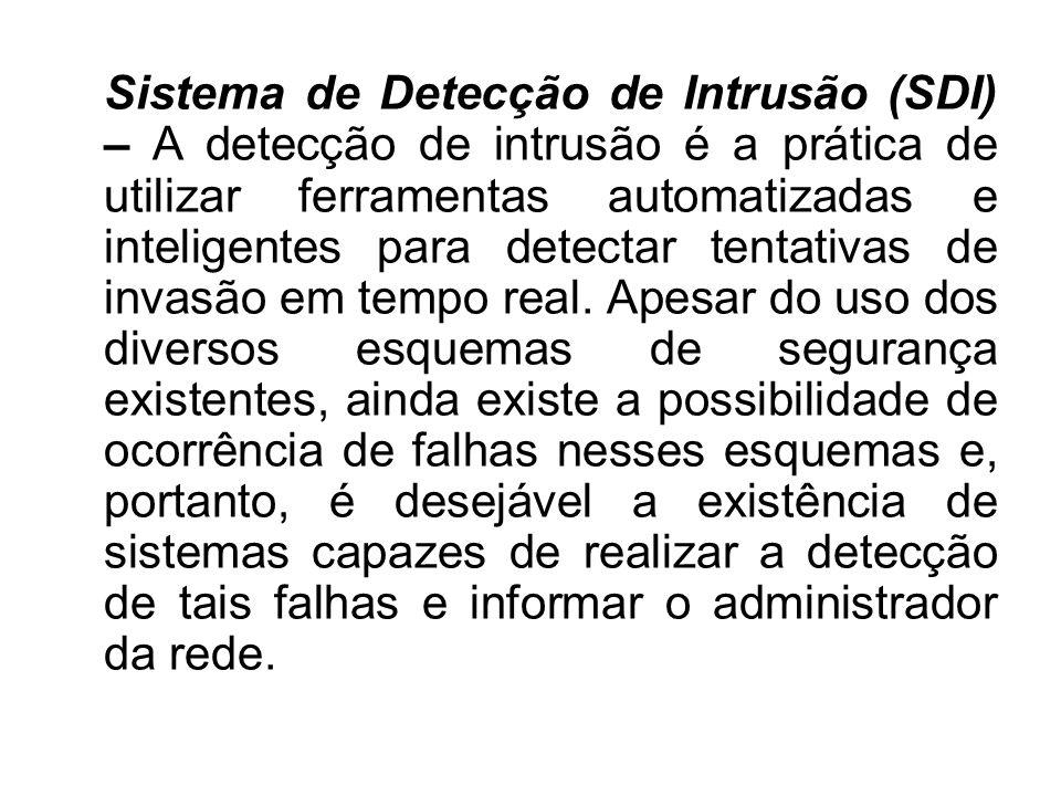 Sistema de Detecção de Intrusão (SDI) – A detecção de intrusão é a prática de utilizar ferramentas automatizadas e inteligentes para detectar tentativas de invasão em tempo real.