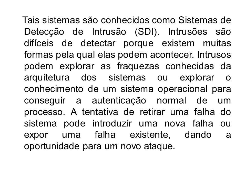 Tais sistemas são conhecidos como Sistemas de Detecção de Intrusão (SDI).