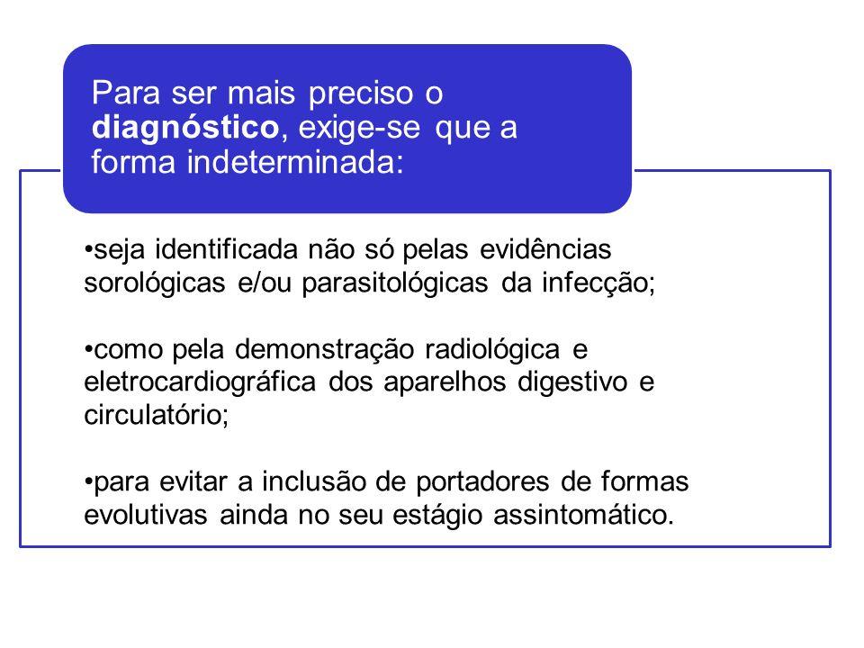 Para ser mais preciso o diagnóstico, exige-se que a forma indeterminada: