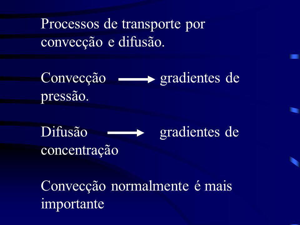 Processos de transporte por convecção e difusão.