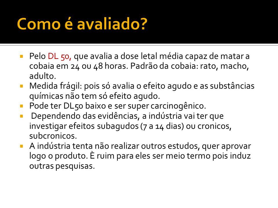 Pelo DL 50, que avalia a dose letal média capaz de matar a cobaia em 24 ou 48 horas. Padrão da cobaia: rato, macho, adulto.