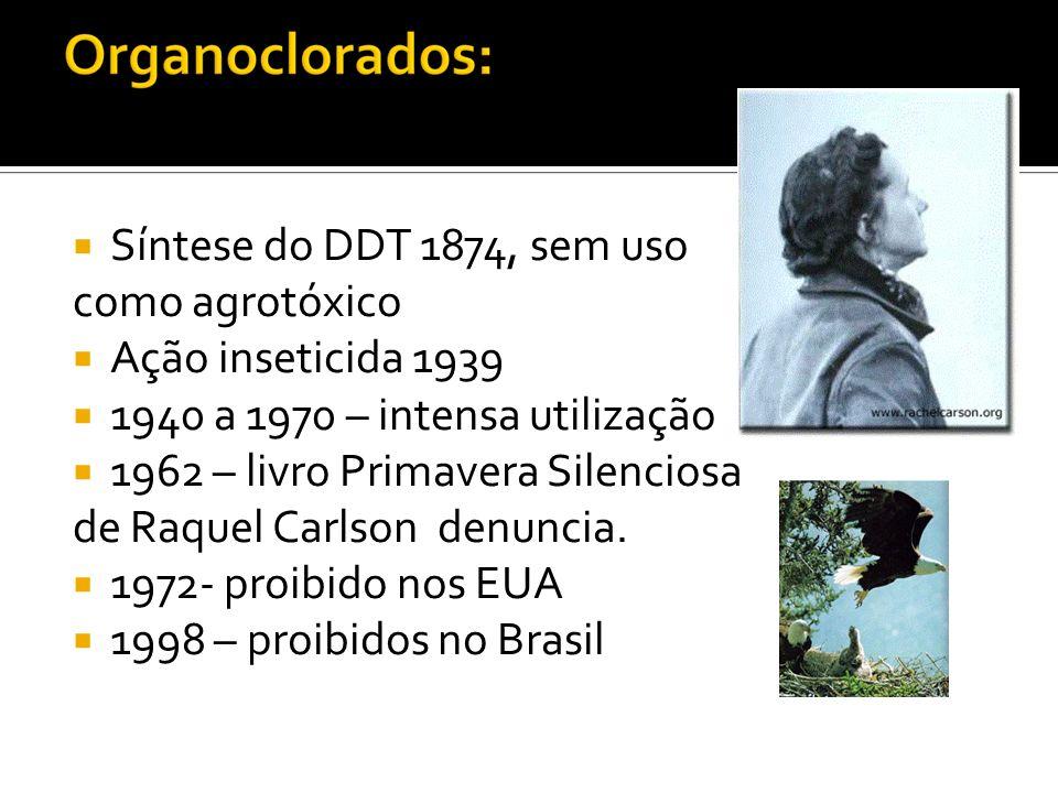 Síntese do DDT 1874, sem uso como agrotóxico. Ação inseticida 1939. 1940 a 1970 – intensa utilização.