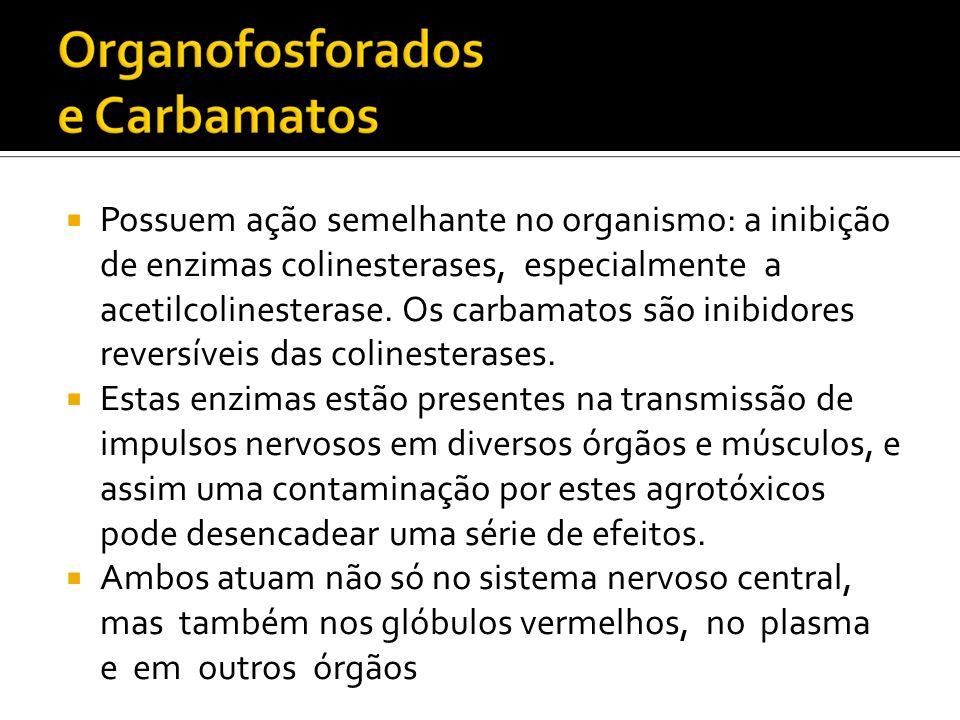 Possuem ação semelhante no organismo: a inibição de enzimas colinesterases, especialmente a acetilcolinesterase. Os carbamatos são inibidores reversíveis das colinesterases.