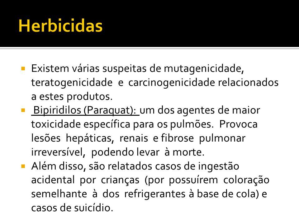 Existem várias suspeitas de mutagenicidade, teratogenicidade e carcinogenicidade relacionados a estes produtos.