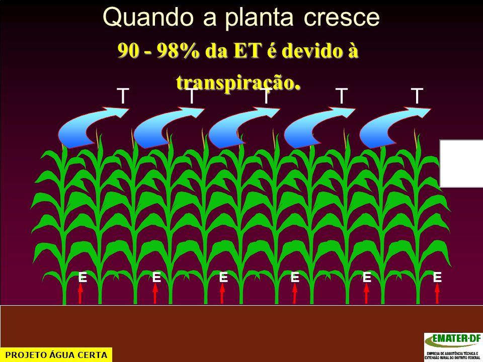 90 - 98% da ET é devido à transpiração.