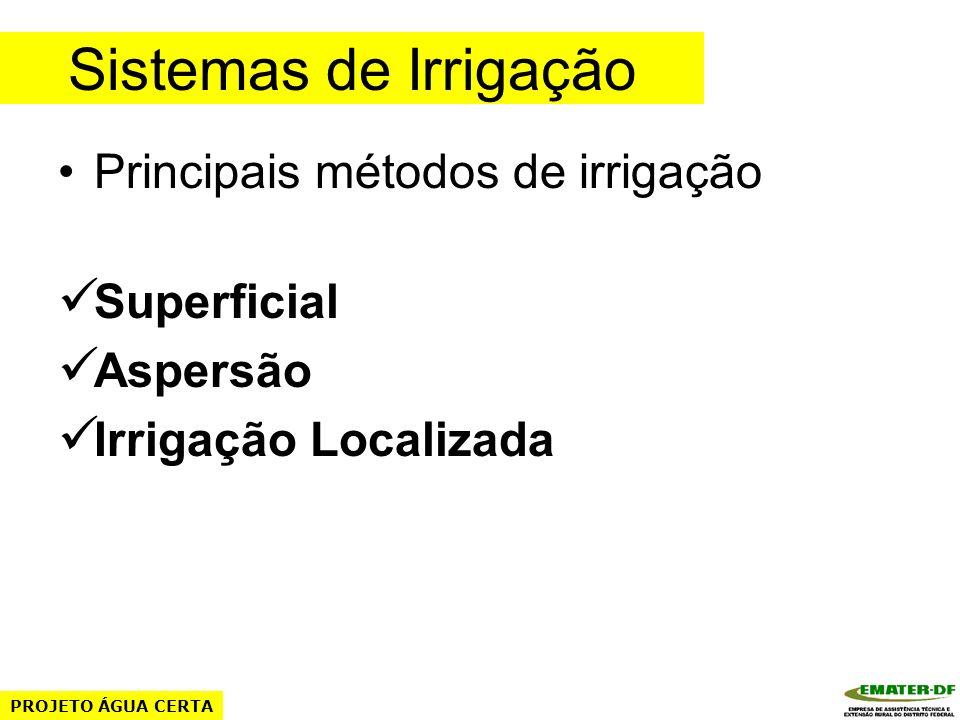 Sistemas de Irrigação Principais métodos de irrigação Superficial