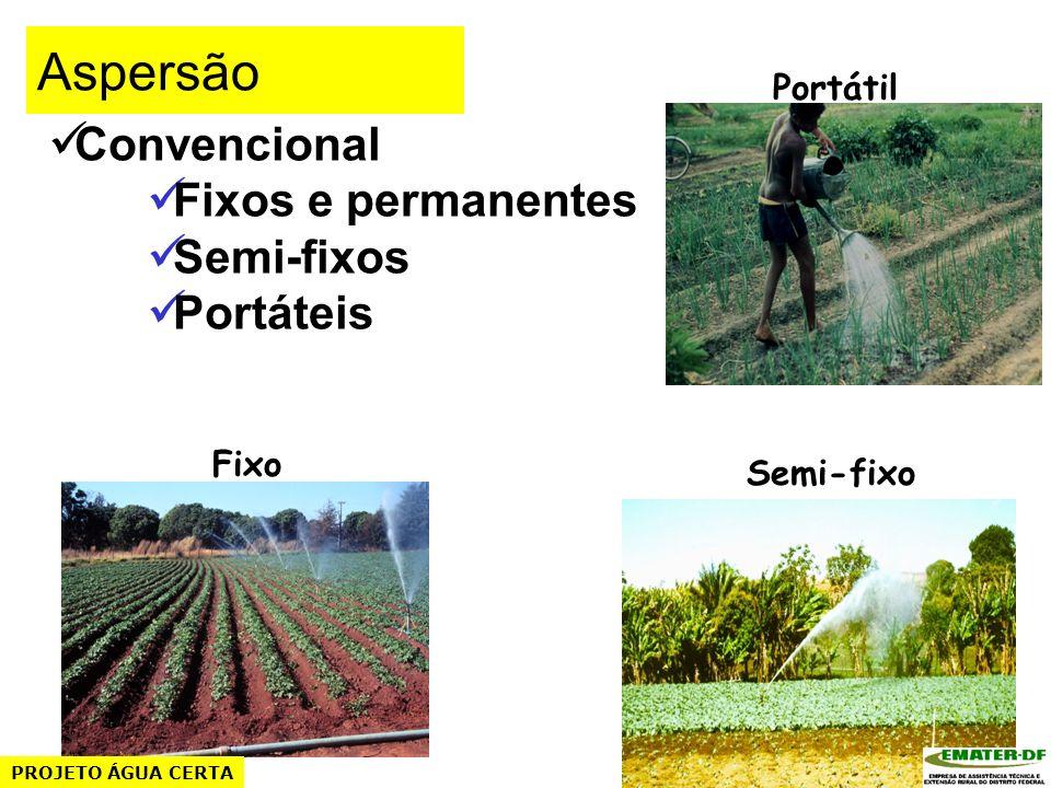 Aspersão Convencional Fixos e permanentes Semi-fixos Portáteis