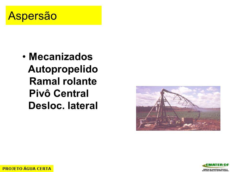 Mecanizados Autopropelido Ramal rolante Pivô Central Desloc. lateral