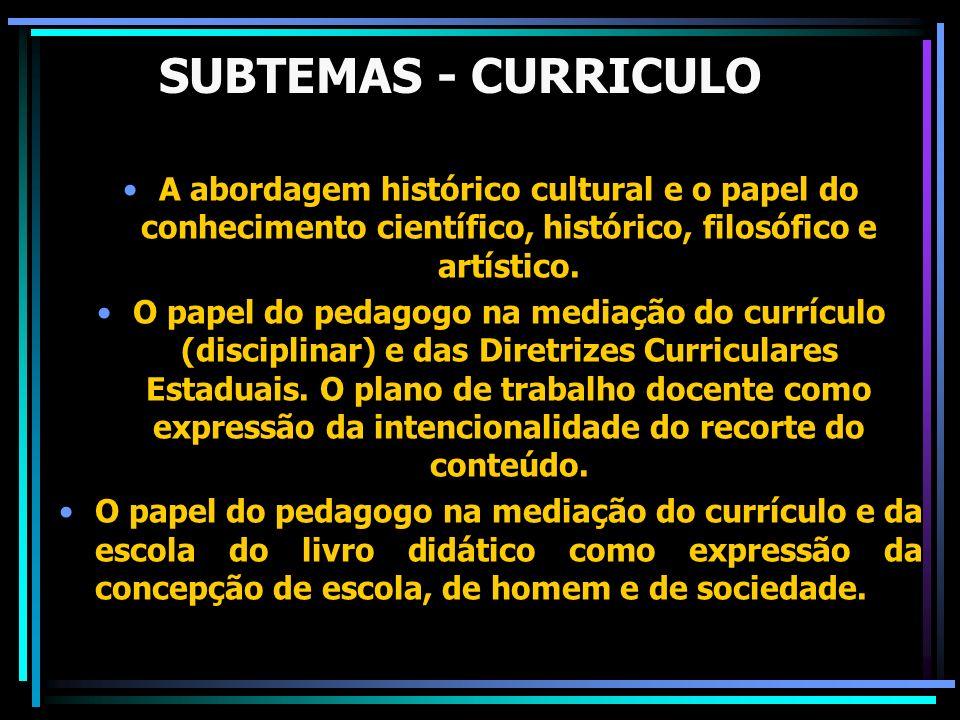 SUBTEMAS - CURRICULO A abordagem histórico cultural e o papel do conhecimento científico, histórico, filosófico e artístico.