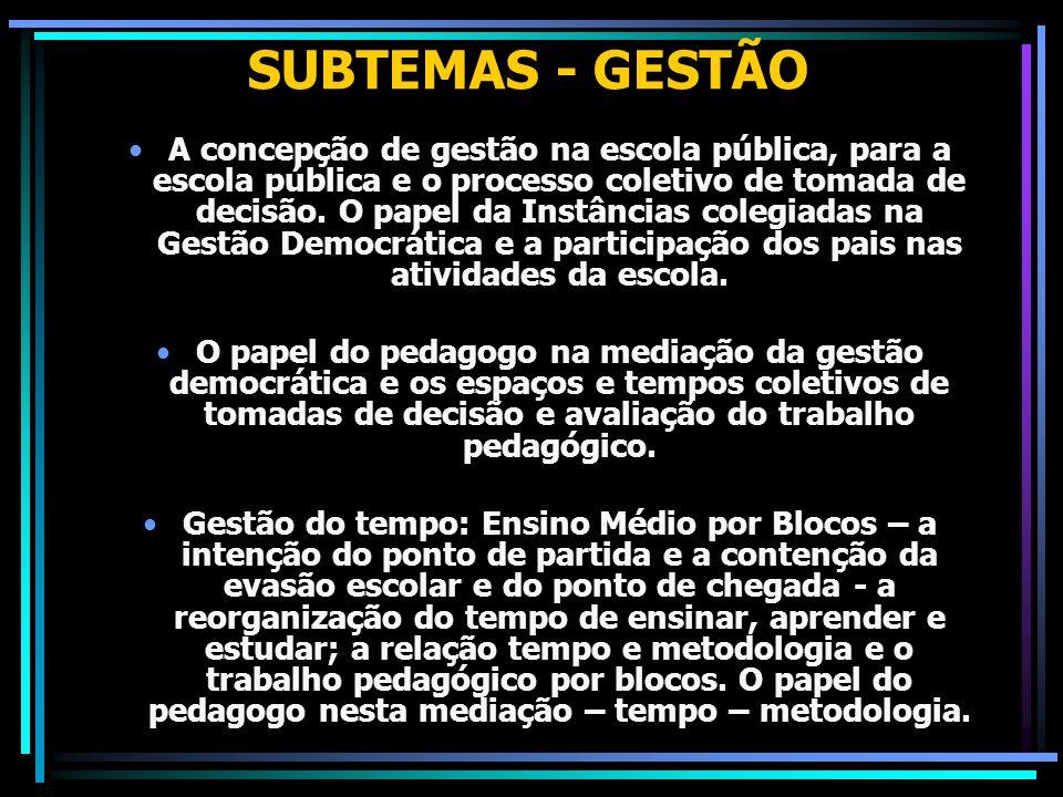 SUBTEMAS - GESTÃO