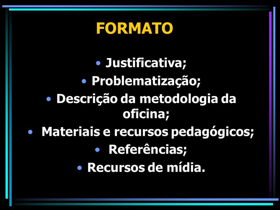 Descrição da metodologia da oficina; Materiais e recursos pedagógicos;