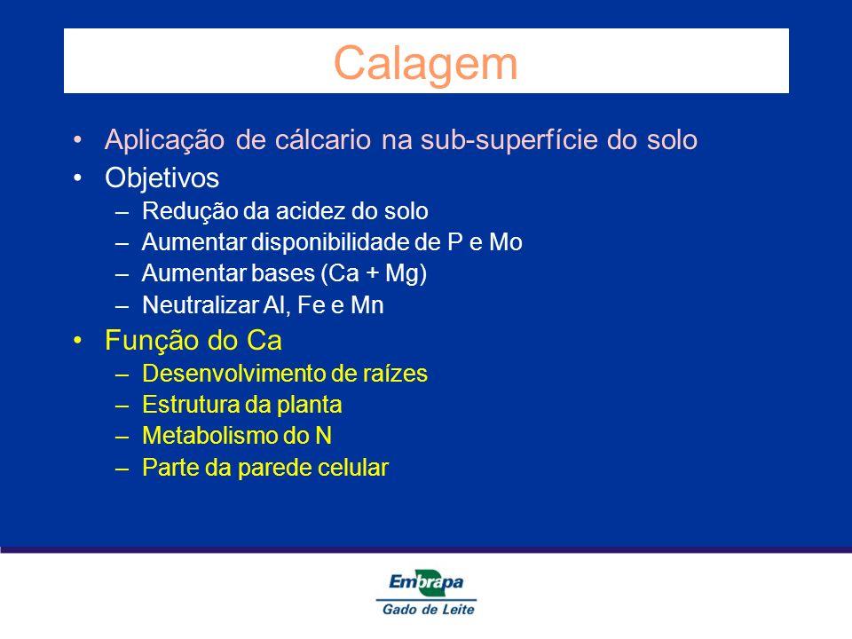 Calagem Aplicação de cálcario na sub-superfície do solo Objetivos