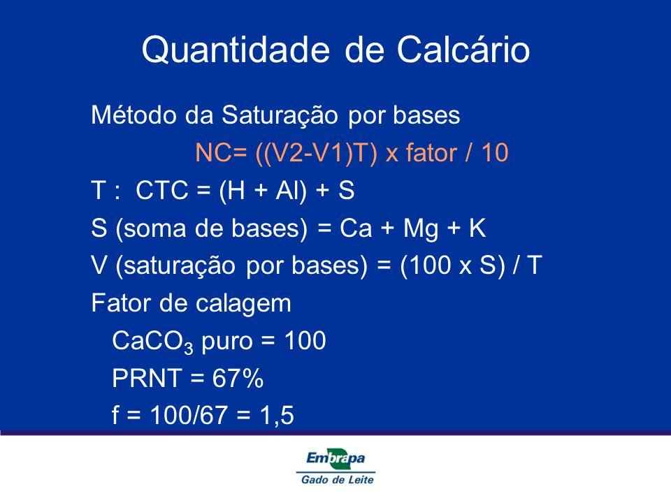 Quantidade de Calcário