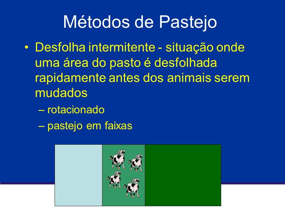 Métodos de Pastejo Desfolha intermitente - situação onde uma área do pasto é desfolhada rapidamente antes dos animais serem mudados.