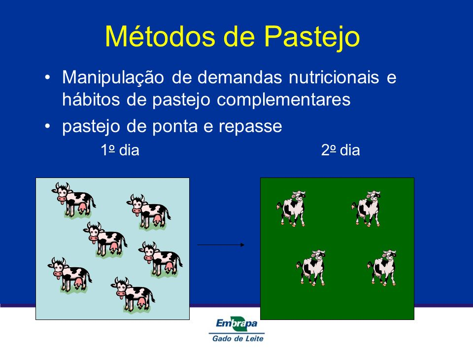 Métodos de PastejoManipulação de demandas nutricionais e hábitos de pastejo complementares. pastejo de ponta e repasse.