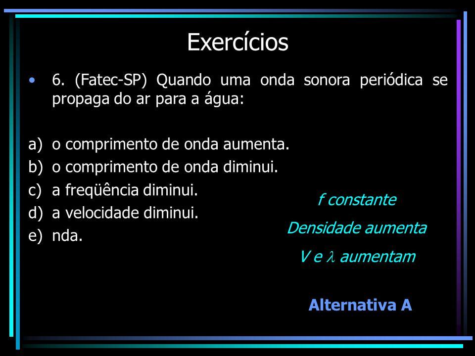 Exercícios 6. (Fatec-SP) Quando uma onda sonora periódica se propaga do ar para a água: o comprimento de onda aumenta.