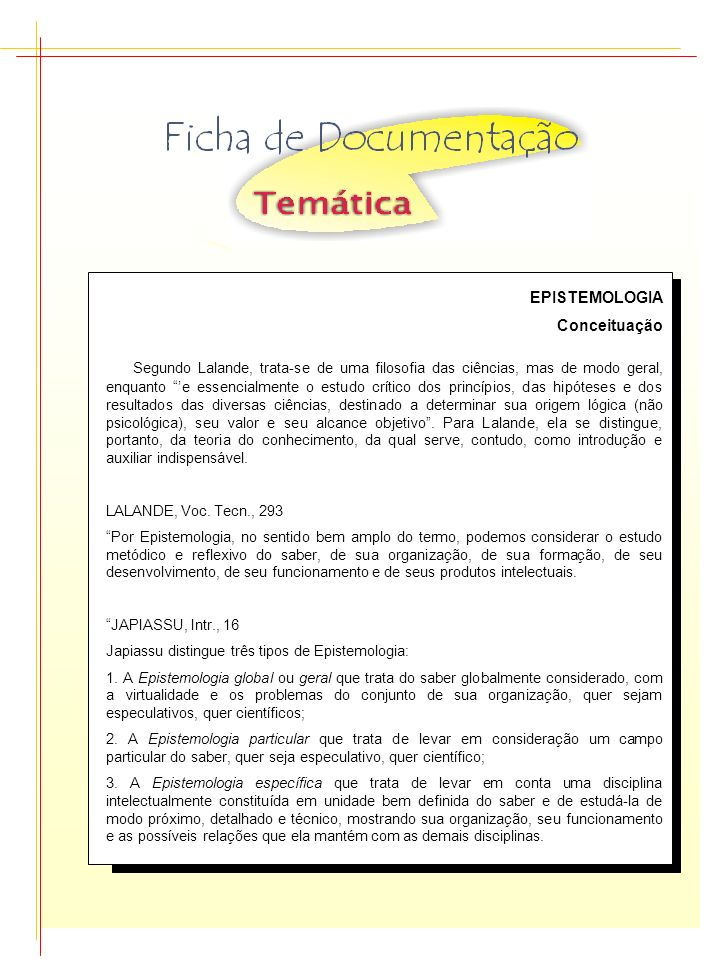EPISTEMOLOGIA Conceituação.